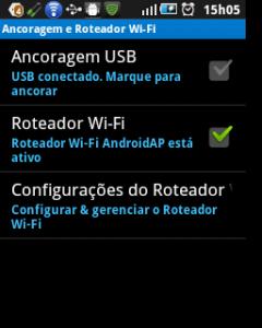Roteamento Wi-Fi do Samsung 5. Este recurso não existe no Wei Dream.