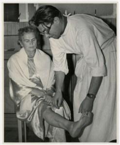 Dr. William Hitzig examining a Ravensbrück survivor