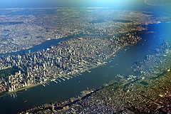 Flight over Manhattan, New York City