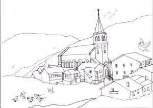 Ausmalbild Meisenweg Kirche