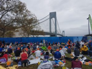 Verrazano bridge seen from Starters village Fort Wadsworth NYC Marathon 2017