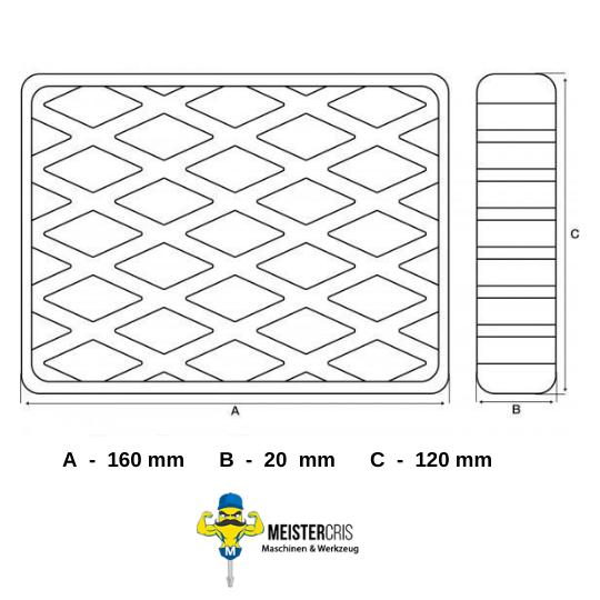 Gummiauflage für Hebebühnen 160 x 120 x 20 mm 3