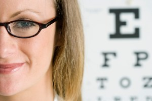 Woman near Eye Chart