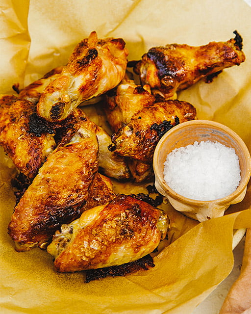 Alitas de pollo con sal y vinagre