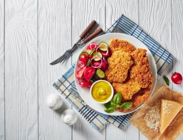 Receta Dijon de pollo empanizado