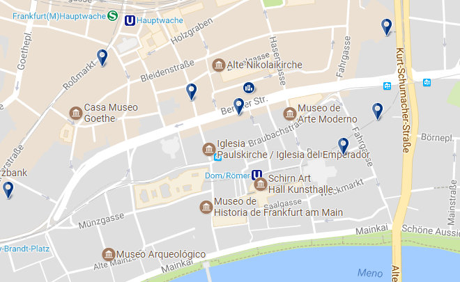 Accommodation in Frankfurt - Zentrum Altstadt - Click on the map to see all accommodation options in this area