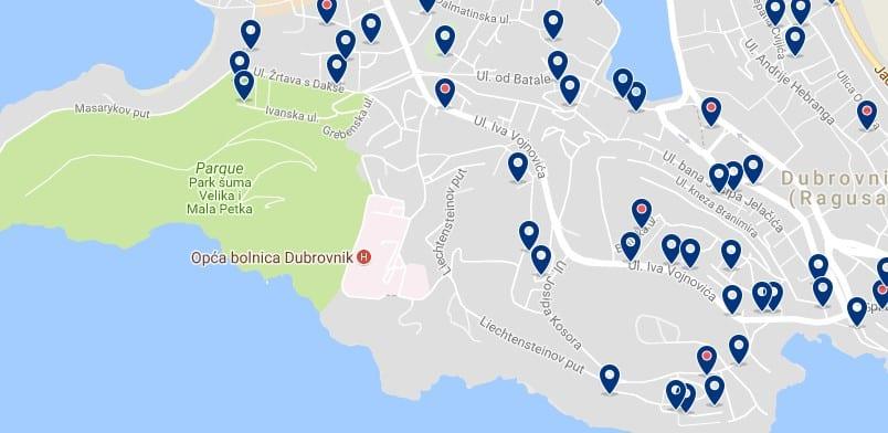 Alojamiento en Lapad - Clica sobre el mapa para ver todo el alojamiento en esta zona
