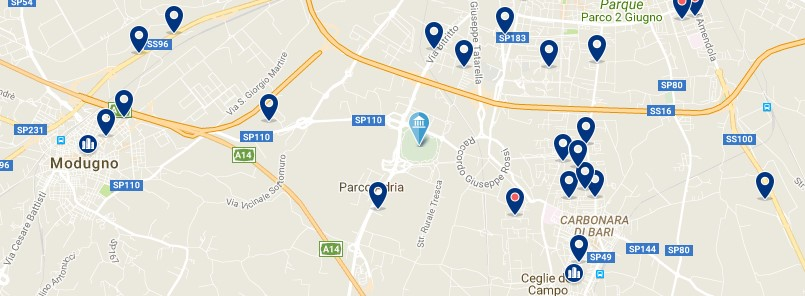 Accommodation around San Nicola Stadium - Click on the map to see all accommodation in this area