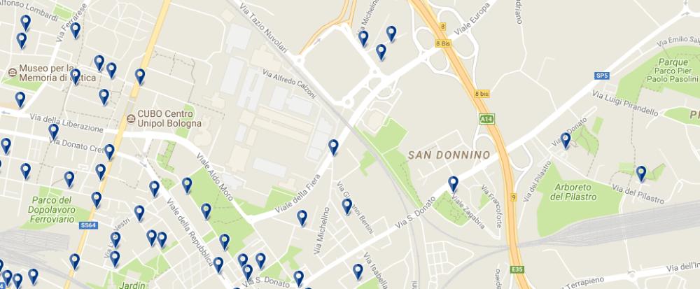 Alojamiento cerca de la Feria de Bolonia - Clica sobre el mapa para ver todo el alojamiento en esta zona