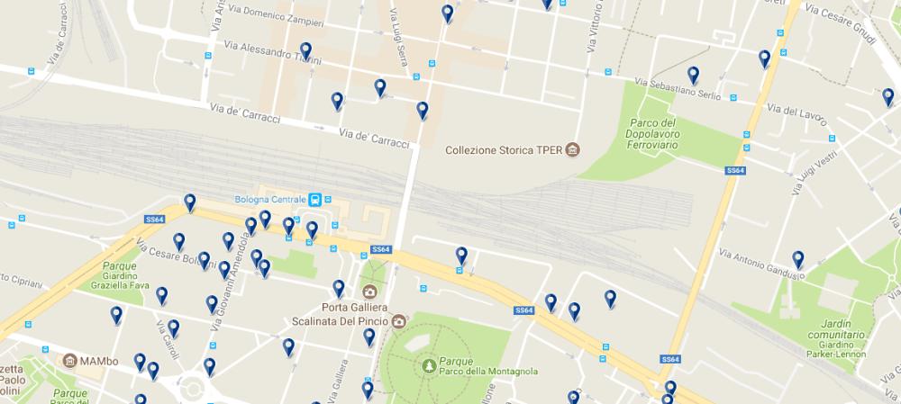 Alojamiento cerca de la estación de trenes Bologna Centrale - Clica sobre el mapa para ver todo el alojamiento en esta zona