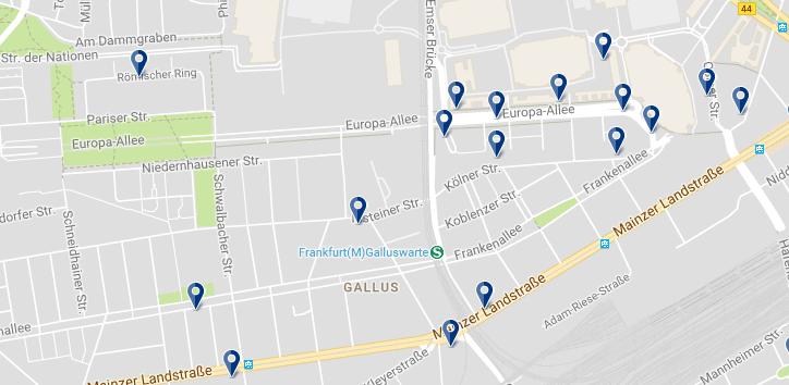 Alojamiento en Frankfurt - Gallusviertel - Clica sobre el mapa para ver todo el alojamiento en esta zona