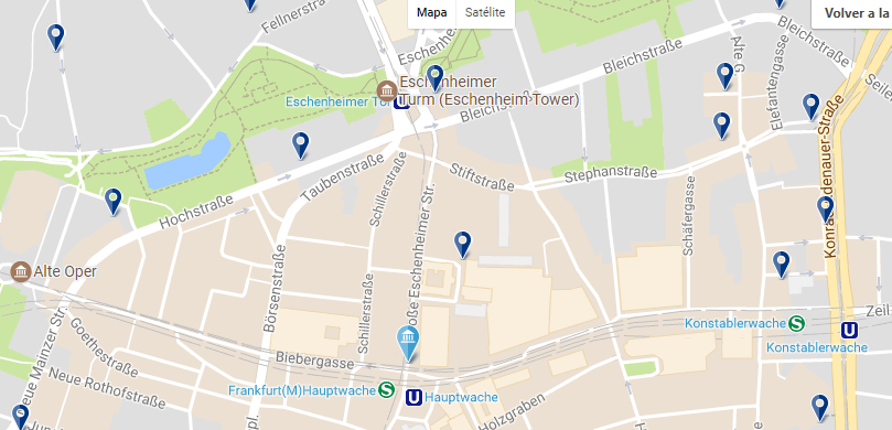 Accommodation in Frankfurt - Innenstadt - Click on the map to see all accommodation options in this area