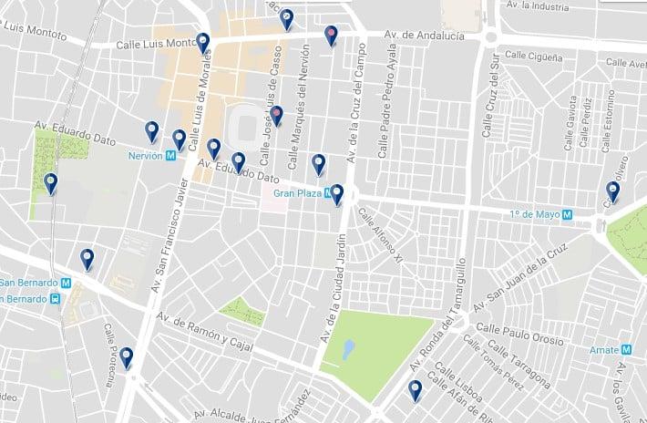 Alojamiento en Sevilla – Nervión – Clica sobre el mapa para ver todo el alojamiento en esta zona