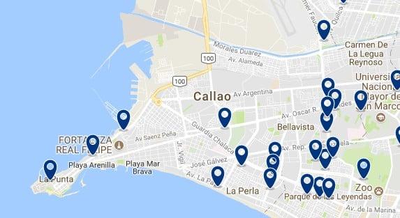Alojamiento en Callao - Clica sobre el mapa para ver todo el alojamiento en esta zona