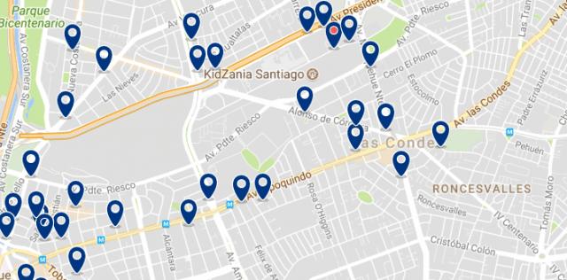 Alojamiento en Las Condes - Clica sobre el mapa para ver todo el alojamiento en esta zona