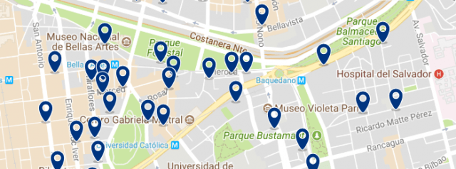 Alojamiento en Lastarria - Clica sobre el mapa para ver todo el alojamiento en esta zona