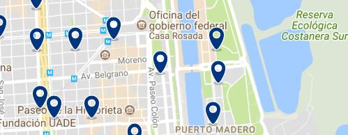 Alojamiento en Puerto Madero - Clica sobre el mapa para ver todo el alojamiento en esta zona