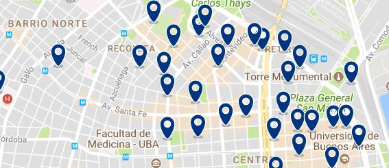 Alojamiento en la Recoleta - Clica sobre el mapa para ver todo el alojamiento en esta zona