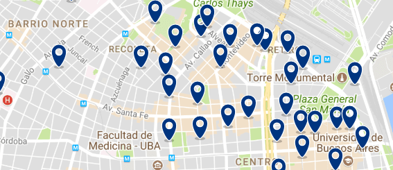Accommodation in la Recoleta - Click on the map to see all available accommodation in this area