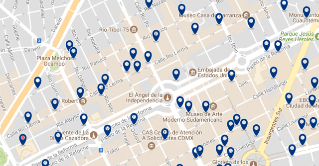 Best areas to stay in Mexico City - Reforma - Click on the map to see all available accommodation in this area