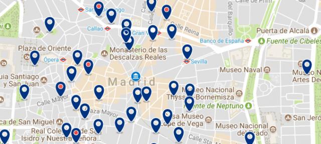 Alojamiento cerca de la Puerta del Sol - Clica sobre el mapa para ver todo el alojamiento en esta zona