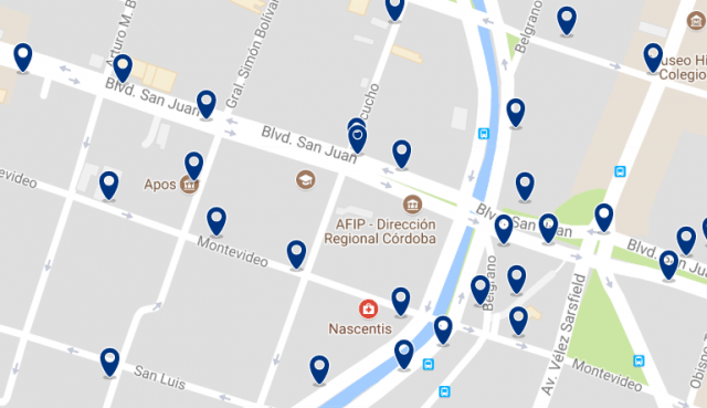 Accommodation near the Paseo de las Artes - Click on the map to see all available accommodation in this area