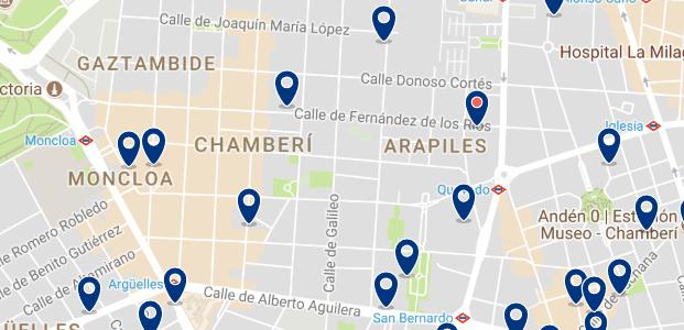 Alojamiento en Chamberí - Clica sobre el mapa para ver todo el alojamiento en esta zona