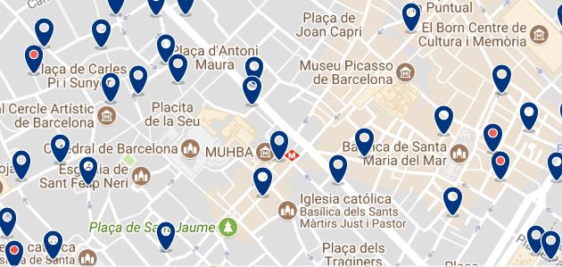 Alojamiento en El Born - Clica sobre el mapa para ver todo el alojamiento en esta zona