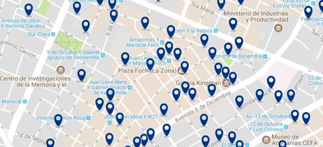 Alojamiento en La Mariscal - Clica sobre el mapa para ver todo el alojamiento en esta zona