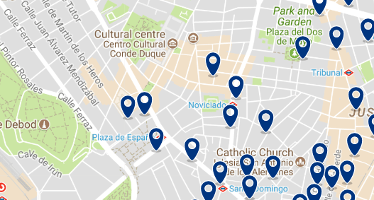 Accommodation in Malasaña - Click on the map to see all available accommodation in this area