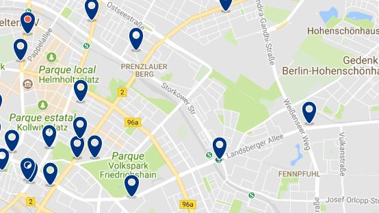 Alojamiento en Prenzlauer Berg - Clica sobre el mapa para ver todo el alojamiento en esta zona