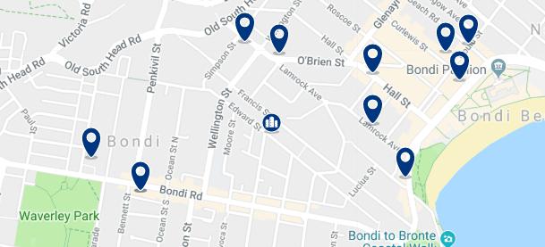 Alojamiento cerca de Bondi Beach - Clica sobre el mapa para ver todo el alojamiento en esta zona