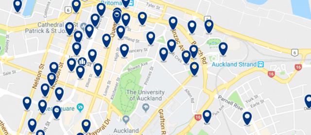 Alojamiento en Auckland Central Business District - Clica sobre el mapa para ver todo el alojamiento en esta zona