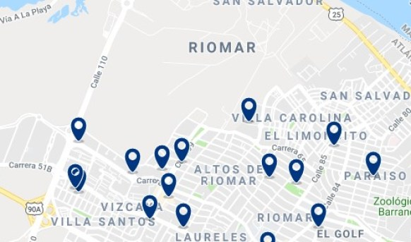 Accommodation in Barranquilla Riomar - Click on the map to see all available accommodation
