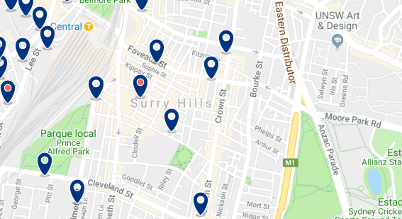 Accommodation in Surry Hills - Click on the map to see all accommodation in this area