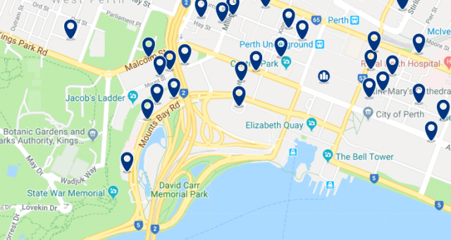 Accommodation in CBD - Click on the map to see all available accommodation in this area
