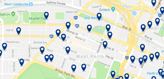 Accommodation in Subiaco & West Perth - Click on the map to see all available accommodation in this area