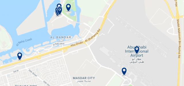 Alojamiento cerca del Aeropuerto Internacional de Abu Dabi - Clica sobre el mapa para ver todo el alojamiento en esta zona