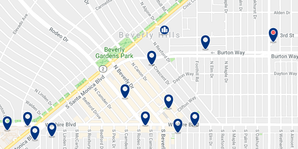 Accommodation in Beverly Hills – Click on the map to see all available accommodation in this area