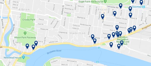 Alojamiento en Hamilton - Clica sobre el mapa para ver todo el alojamiento en esta zona