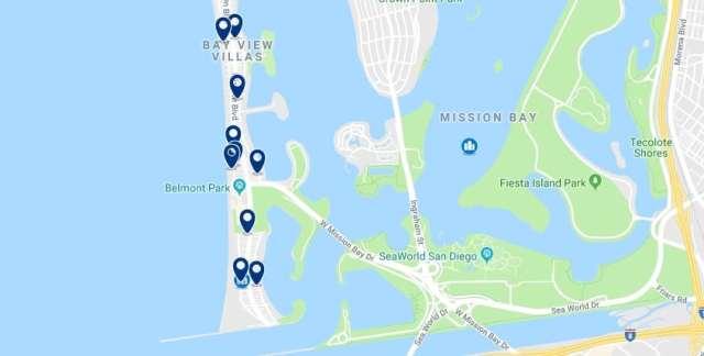 Alojamiento en Mission Beach - Haz clic para ver todo el alojamiento disponible en esta zona