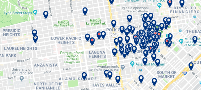 Accommodation in Pacific Heights - Click on the map to see all available accommodation in this area
