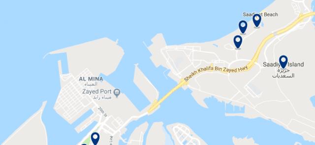 Alojamiento en Saadiyat Island - Clica sobre el mapa para ver todo el alojamiento en esta zona