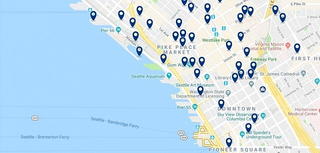 Accommodation in Seattle Central Waterfront - Click on the map to see all available accommodation in this area