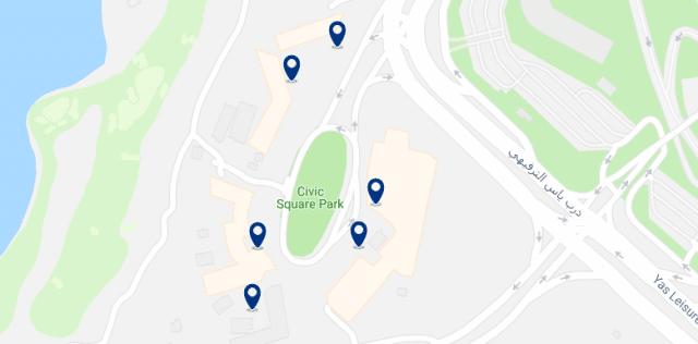 Alojamiento en Yas Island - Clica sobre el mapa para ver todo el alojamiento