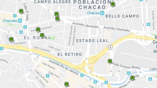 Alojamiento en Chacao - Clica en el mapa para ver todo el alojamiento en esta zona