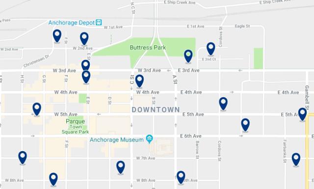 Alojamiento en Downtown Anchorage – Haz clic para ver todo el alojamiento disponible en esta zona