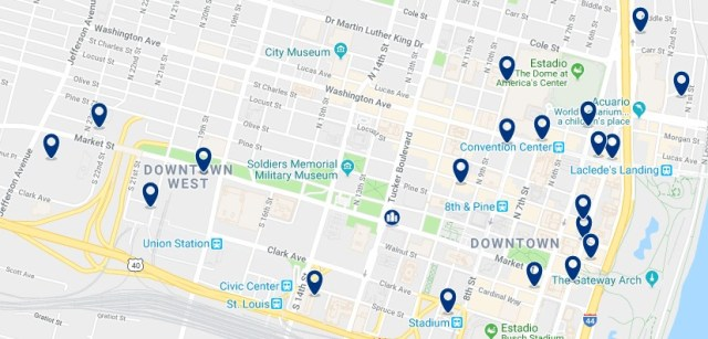 Alojamiento en Downtown St. Louis - Haz clic para ver todo el alojamiento disponible en esta zona