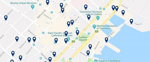 Alojamiento en Hobart CBD - Haz clic para ver todo el alojamiento disponible en esta zona