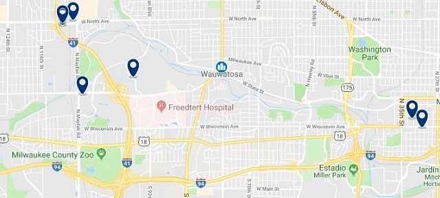 Accommodation in Wauwatosa - Click on the map to see all available accommodation in this area